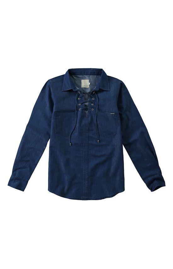 Camisa Jeans Amarração Malwee Azul Escuro - G
