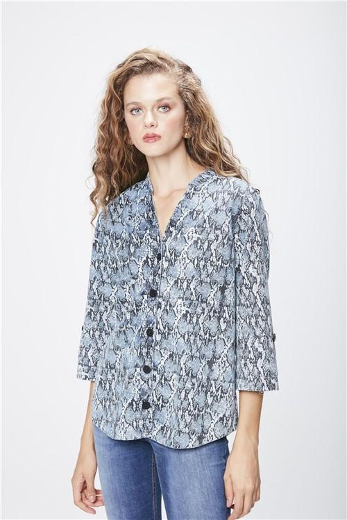 Camisa Jeans Animal Print Feminina