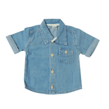 Camisa Jeans Azul Clara Manga Curta | Doremi Bebê
