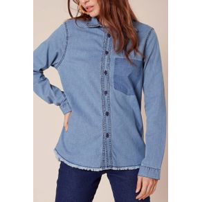 Camisa Jeans Bolso Falso Jeans - 34