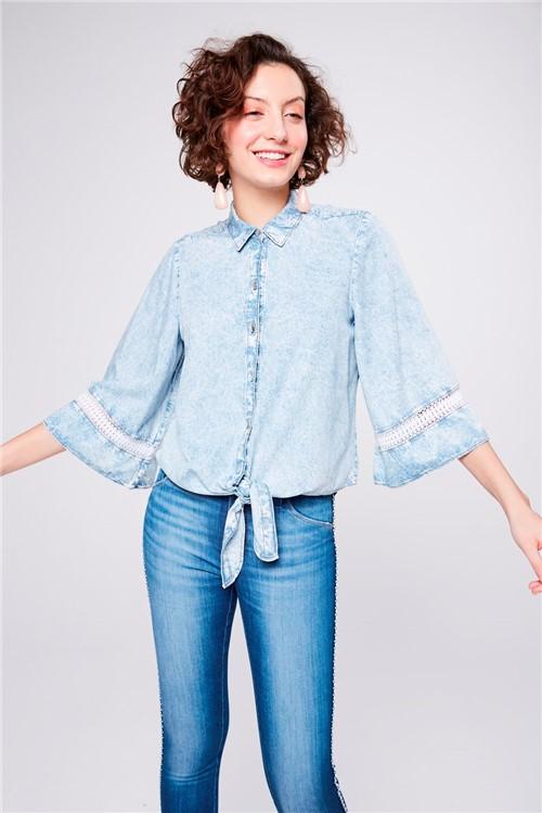 Camisa Jeans com Amarração Feminina