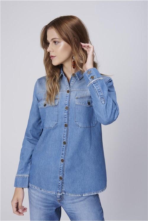 Camisa Jeans com Bolsos Feminina