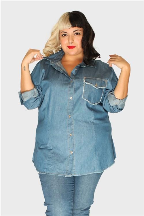 Camisa Jeans Desfiada Plus Size Azul-48