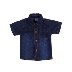 Camisa Jeans Infantil para Bebê Menino - Azul G