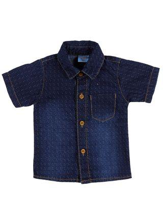 Camisa Jeans Infantil para Bebê Menino - Azul