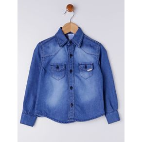 Camisa Jeans Infantil para Menino - Azul 1