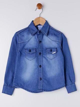 Camisa Jeans Infantil para Menino - Azul