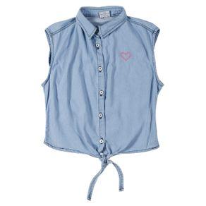 Camisa Jeans Juvenil para Menina - Azul 10