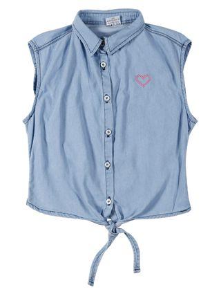 Camisa Jeans Juvenil para Menina - Azul