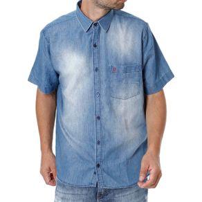 Camisa Jeans Manga Curta Masculina Azul 1