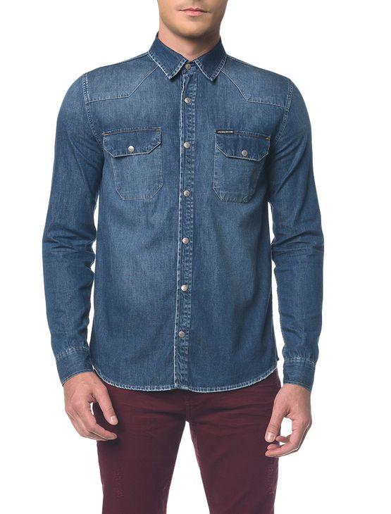 Camisa Jeans Manga Longa - Azul Médio - P
