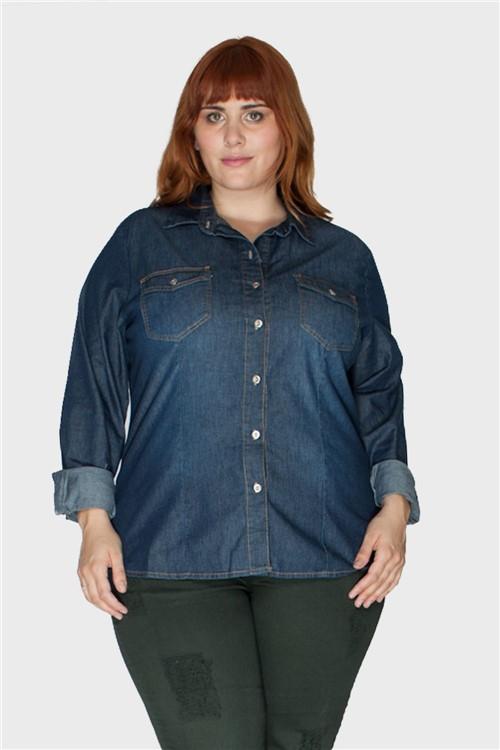 Camisa Jeans Raw Plus Size Azul-48