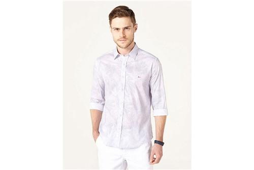 Camisa Jeanswear Slim Folhagem - Lilás - P