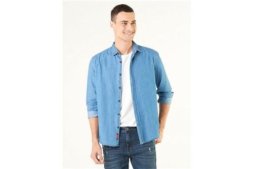 Camisa Jeanswear Slim Lavada - Azul - M