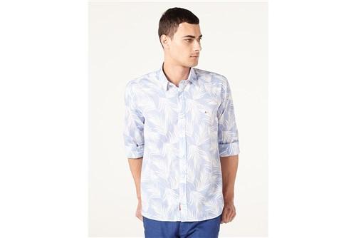 Camisa Jeanswear Slim Maxi Folhas - Azul - G