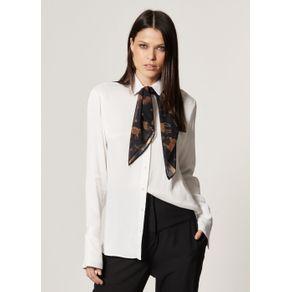 Camisa Lisa com Detalhe Punho Off White - G
