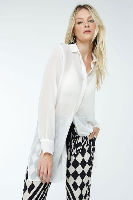 Camisa Longa Seda Off White - 36