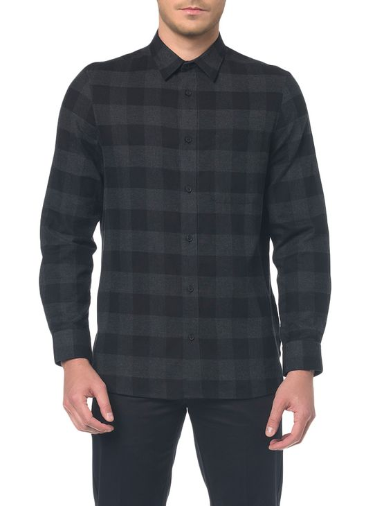 Camisa M/L Detalhe Tecido Aplicado - M
