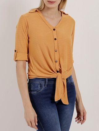 Camisa Manga 3/4 Feminina Autentique Amarelo