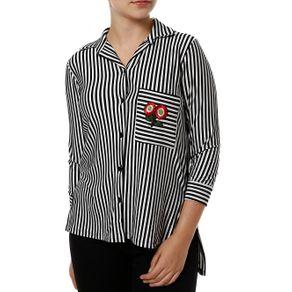 Camisa Manga 3/4 Feminina Autentique Preto/branco P