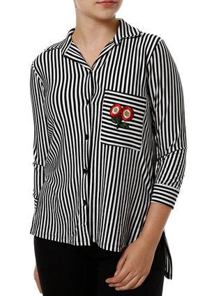 Camisa Manga 3/4 Feminina Autentique Preto/branco