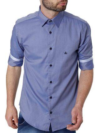 Camisa Manga 3/4 Masculina Azul