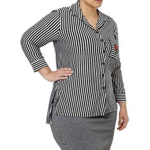 Camisa Manga 3/4 Plus Size Feminina Autentique Preto/branco G2