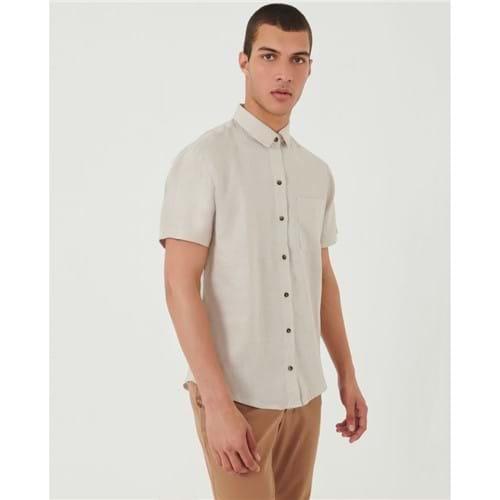 Camisa Manga Curta Bege M