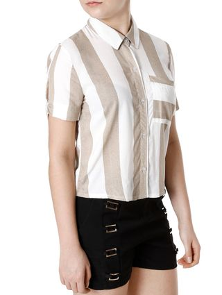 Camisa Manga Curta Feminina Autentique Bege/off White