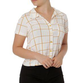 Camisa Manga Curta Feminina Autentique Off White/laranja G
