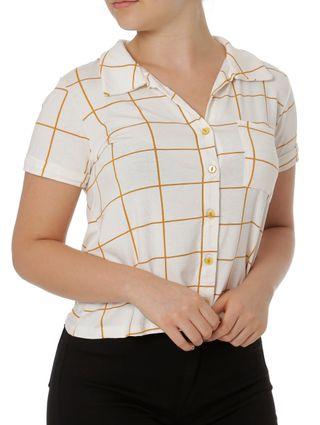 Camisa Manga Curta Feminina Autentique Off White/laranja