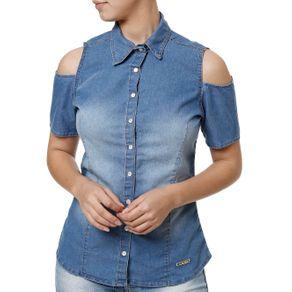 Camisa Manga Curta Feminina Azul M