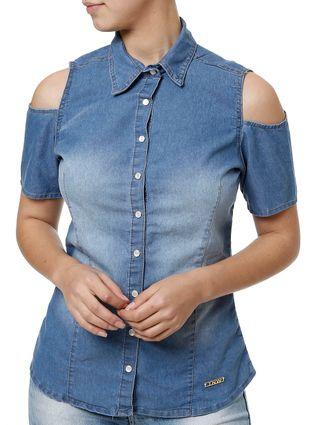 Camisa Manga Curta Feminina Azul