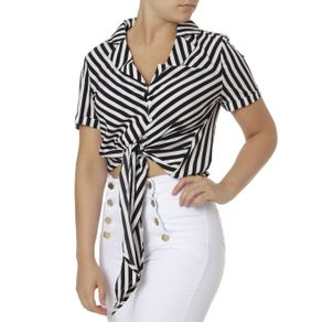 Camisa Manga Curta Feminina Preto/branco P