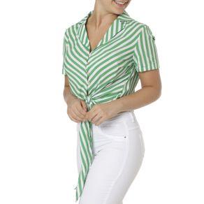 Camisa Manga Curta Feminina Verde/branco GG