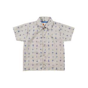 Camisa Manga Curta Infantil para Menino - Bege 2