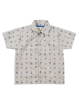 Camisa Manga Curta Infantil para Menino - Bege