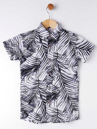 Camisa Manga Curta Infantil para Menino - Branco/preto