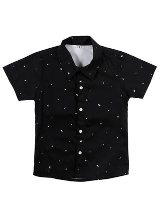 Camisa Manga Curta Infantil para Menino - Preto