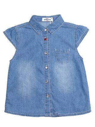Camisa Manga Curta Jeans Infantil para Menina - Azul