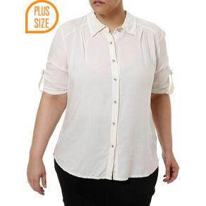 Camisa Manga Curta Plus Size Feminina Bege 48