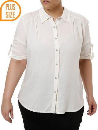 Camisa Manga Curta Plus Size Feminina Bege