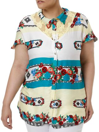 Camisa Manga Curta Plus Size Feminina Verde/amarelo