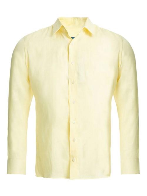 Camisa Manga Longa de Linho Amarela Tamanho 38