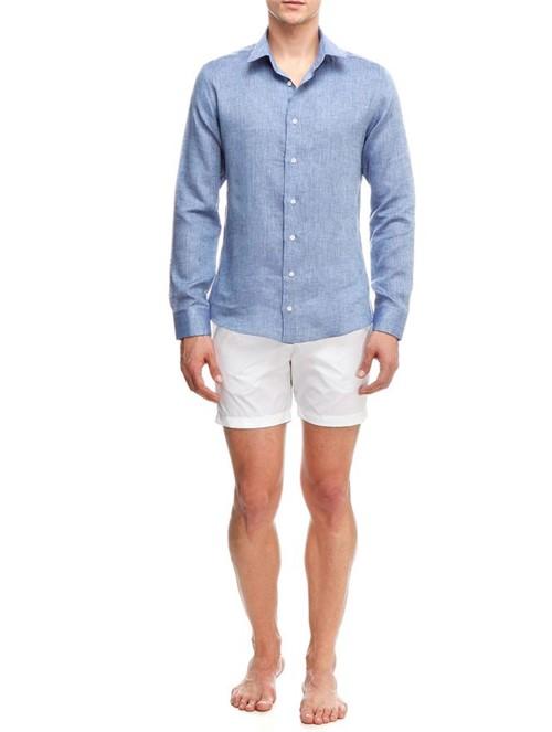 Camisa Manga Longa de Linho Azul Tamanho 38