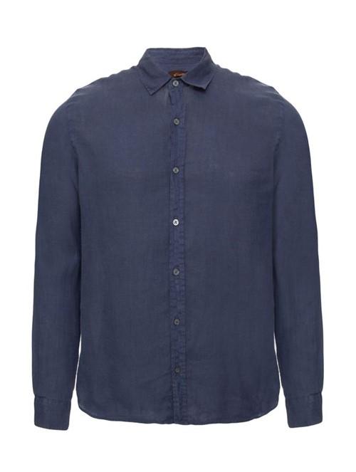 Camisa Manga Longa de Linho Azul Tamanho P