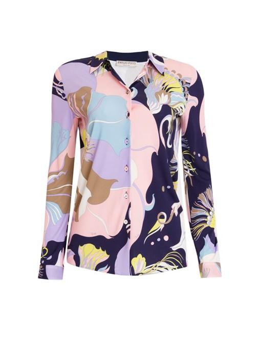 Camisa Manga Longa Estampada Rosa Tamanho 38