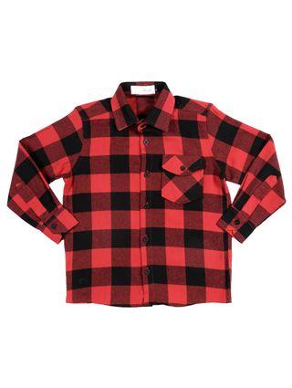 Camisa Manga Longa Juvenil para Menino - Vermelho/preto