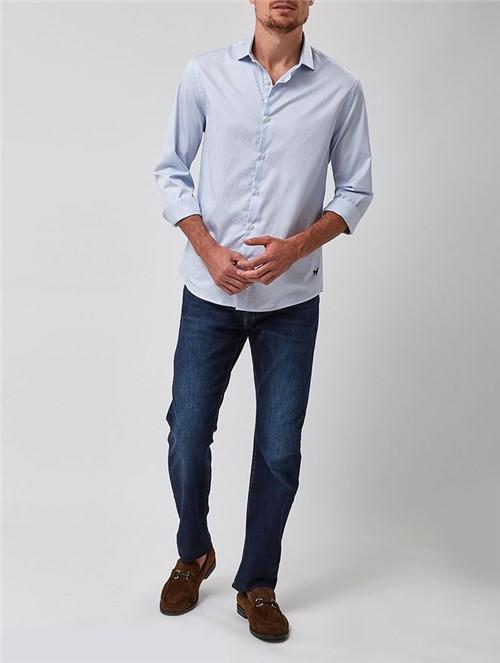 Camisa Manga Longa Listrada Azul Tamanho P