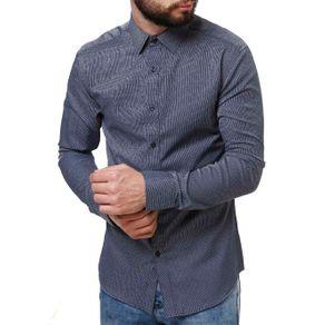 Camisa Manga Longa Masculina Azul 3